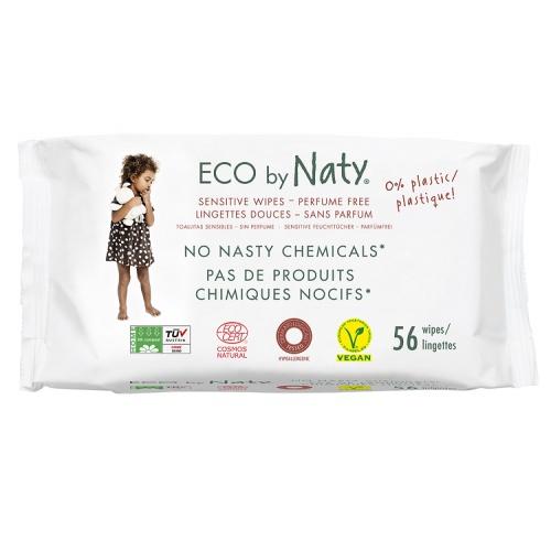 Eco by Naty vlhčené ubrousky bez vůně 56 ks pro citlivou pokožku