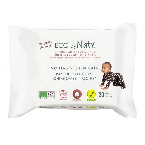 Eco by Naty vlhčené ubrousky bez vůně 20 ks pro citlivou pokožku