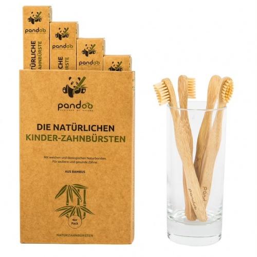 Pandoo bambusové zubní kartáčky dětské Medium Soft (4ks)