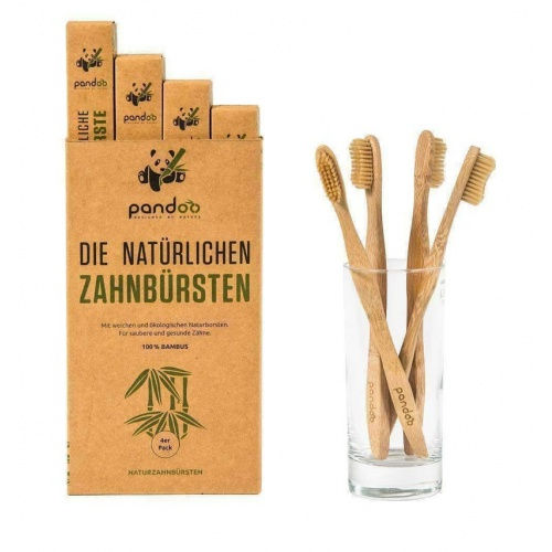 Pandoo bambusové zubní kartáčky Medium Soft (4 ks)