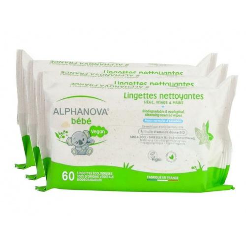 Alphanova jemné vlhčené ubrousky 3*60ks